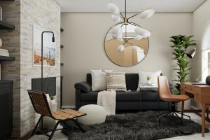 Beautifully styled lounge and office